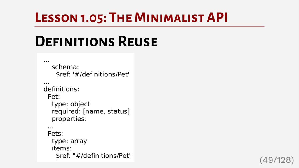 Lesson 1.05: The Minimalist API Definitions Reu...