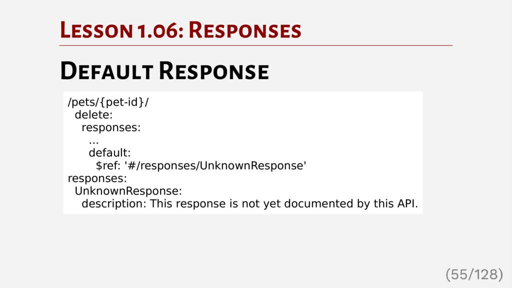 Lesson 1.06: Responses Default Response /pets/{...
