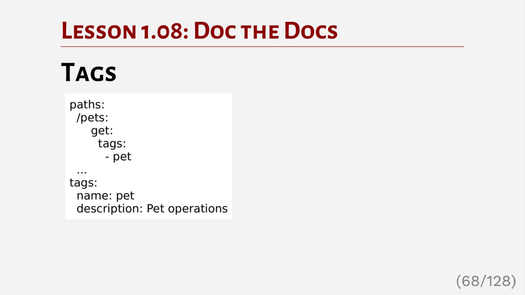 Lesson 1.08: Doc the Docs Tags paths: /pets: ge...