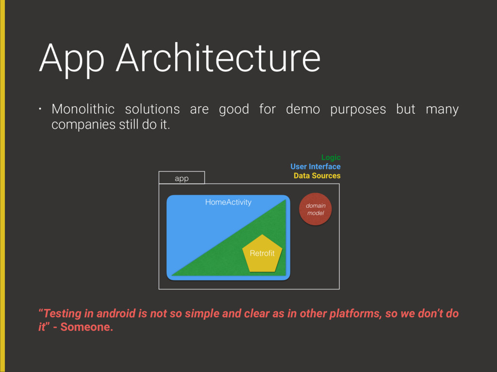 App Architecture • Monolithic solutions are goo...