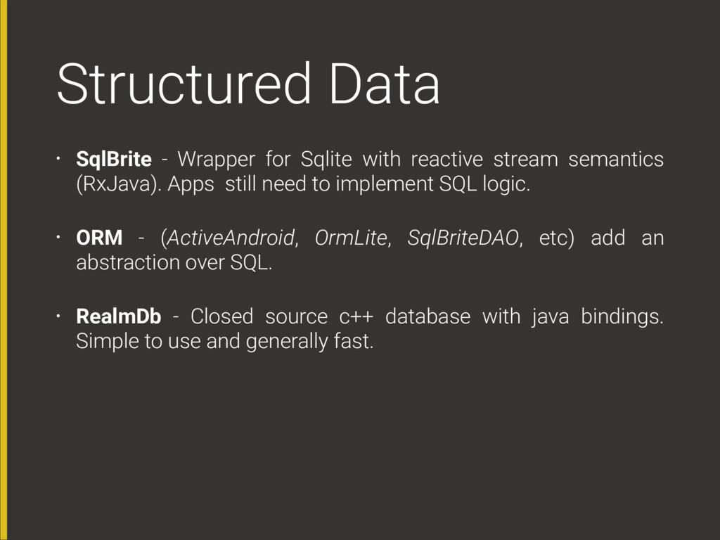 Structured Data • SqlBrite - Wrapper for Sqlite...