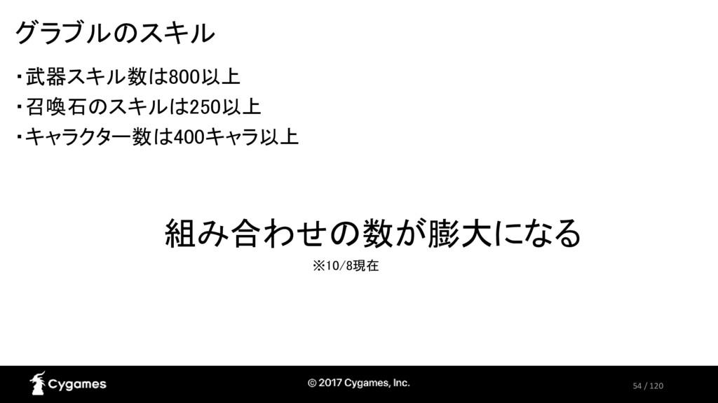 54 / 120 グラブルのスキル ・武器スキル数は800以上 ・召喚石のスキルは250以上 ...