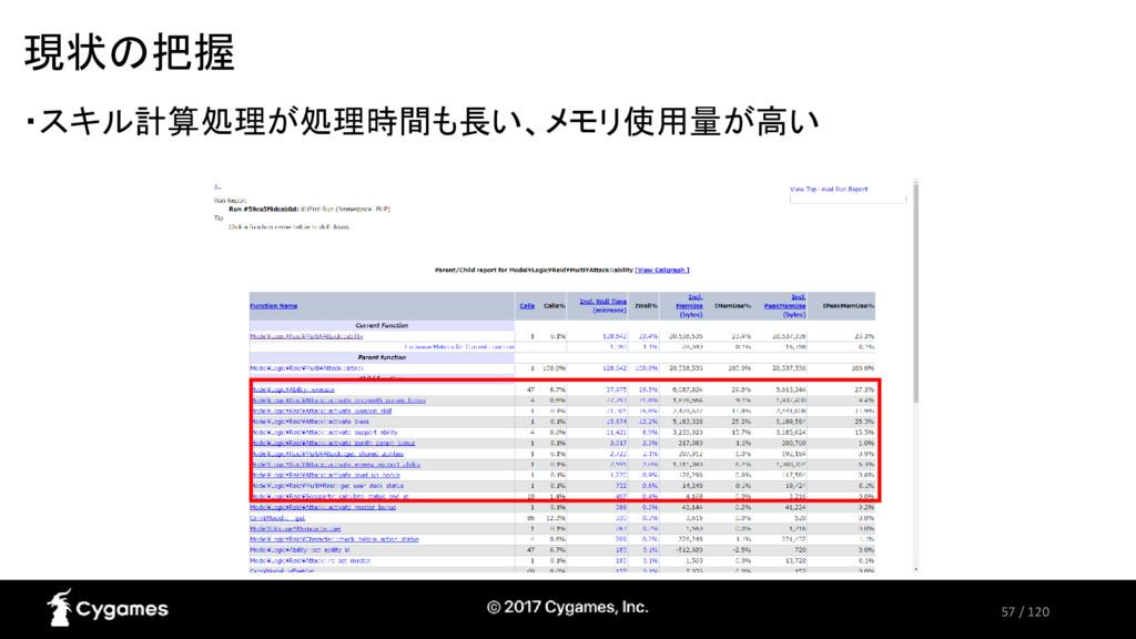 57 / 120 現状の把握 ・スキル計算処理が処理時間も長い、メモリ使用量が高い