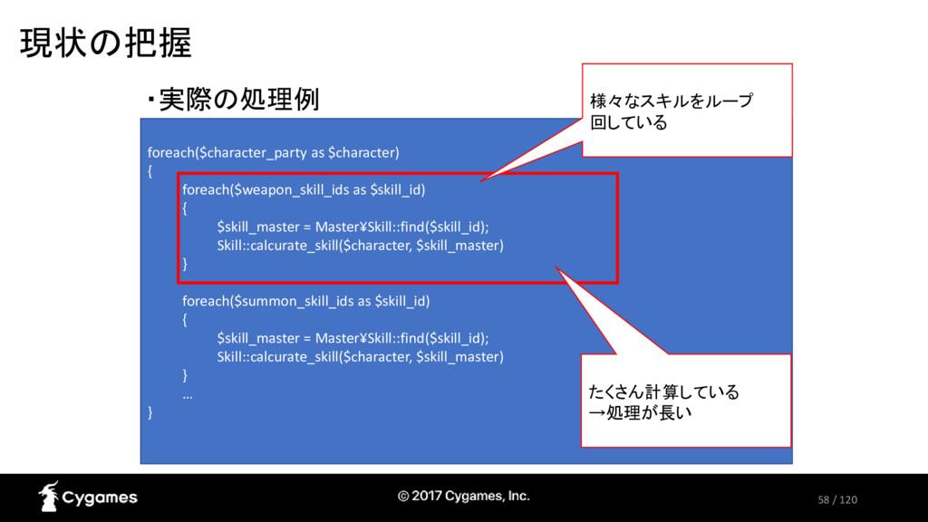 58 / 120 現状の把握 ・実際の処理例 foreach($character_party...