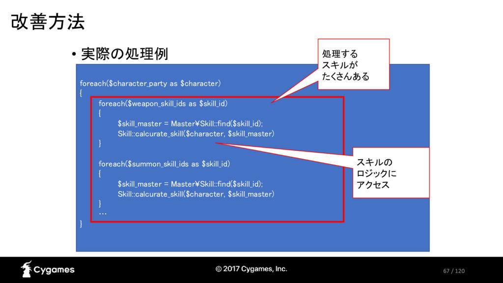 67 / 120 改善方法 • 実際の処理例 foreach($character_party...