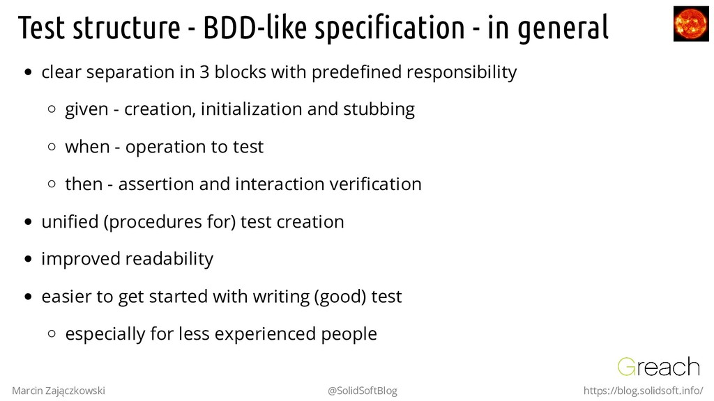 Test structure - BDD-like specification - in gen...