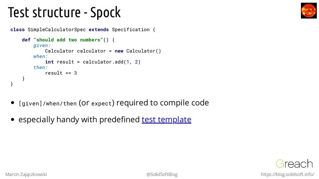 Test structure - Spock class SimpleCalculatorSp...
