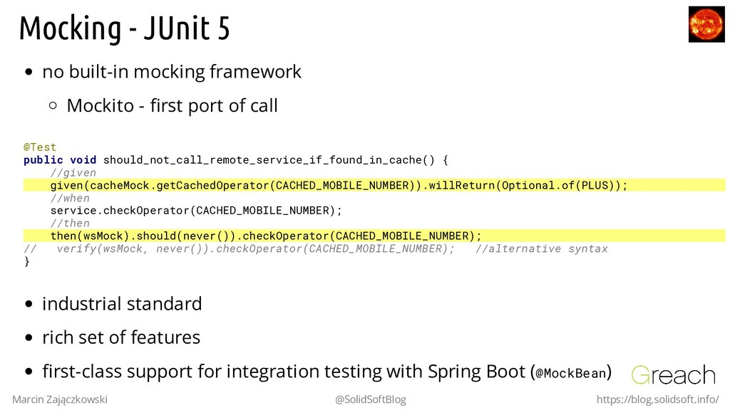 Mocking - JUnit 5 no built-in mocking framework...