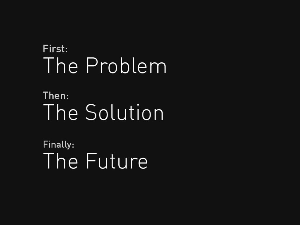 The Problem First: The Solution Then: The Futur...