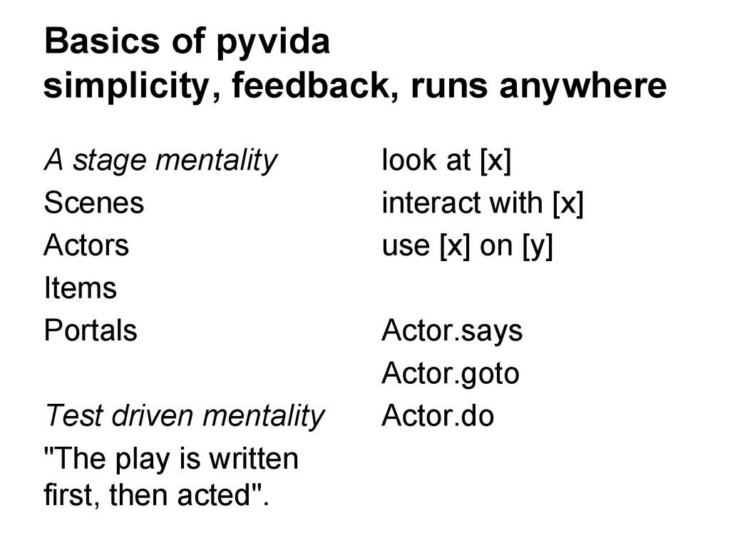 Basics of pyvida simplicity, feedback, runs any...