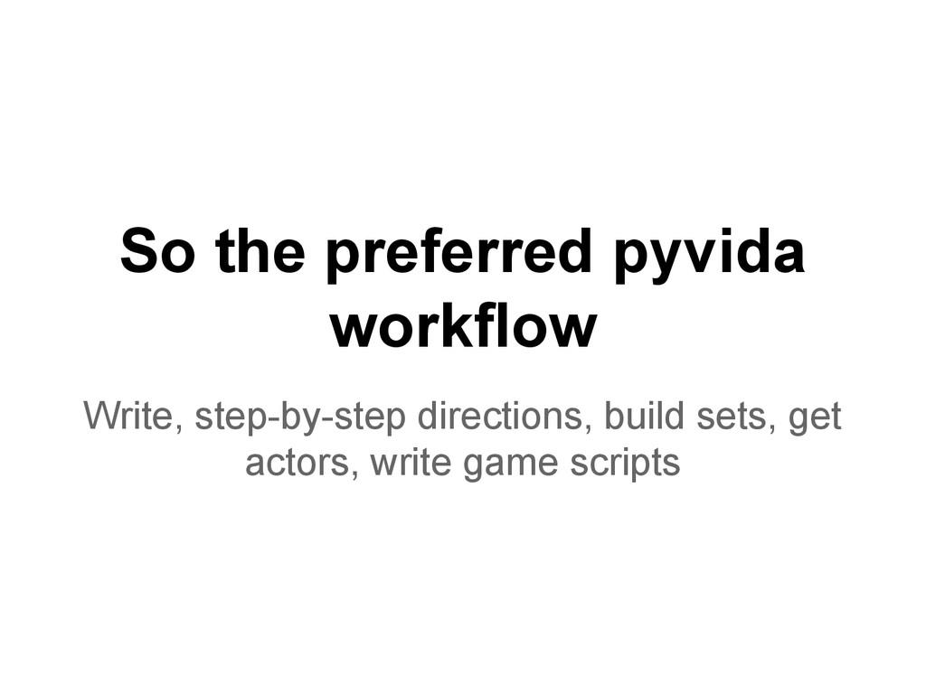 So the preferred pyvida workflow Write, step-by...