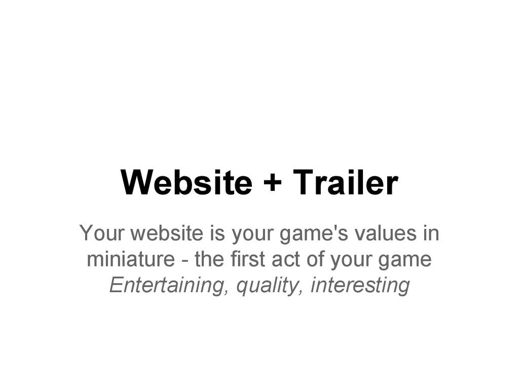 Website + Trailer Your website is your game's v...