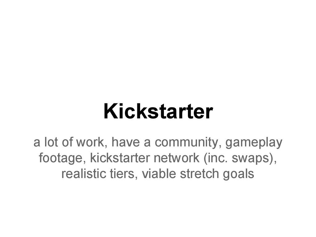 Kickstarter a lot of work, have a community, ga...