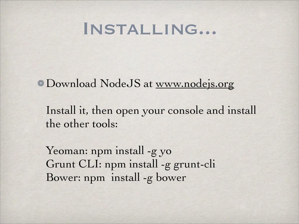 Installing... Download NodeJS at www.nodejs.org...