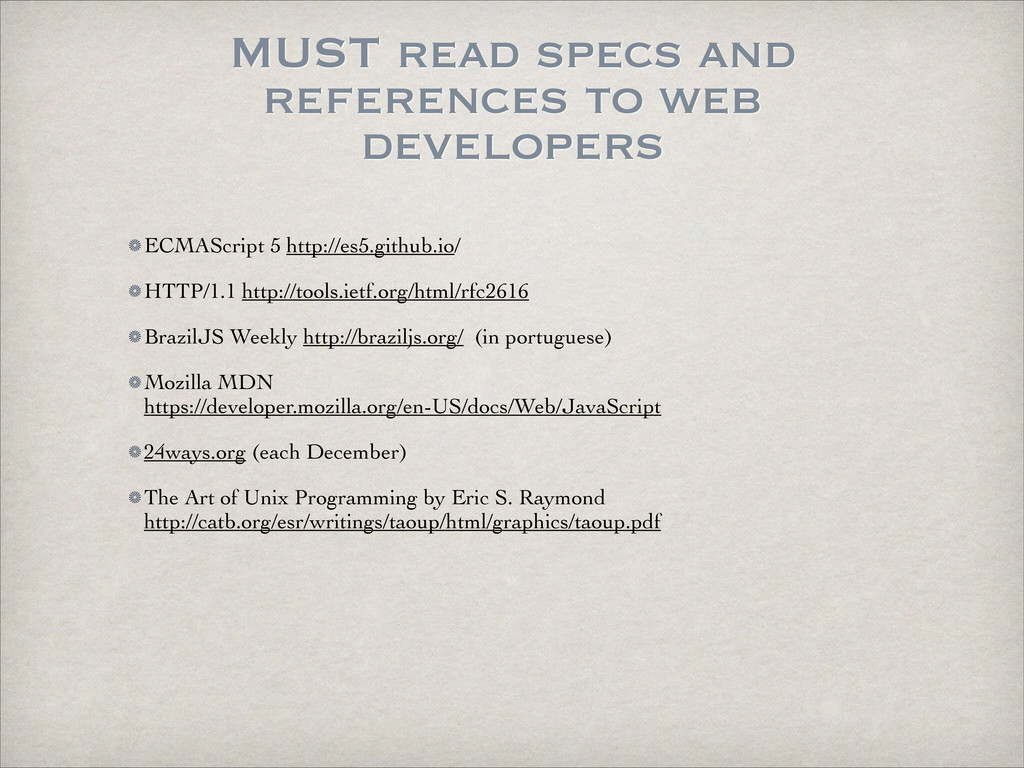 MUST read specs and references to web developer...