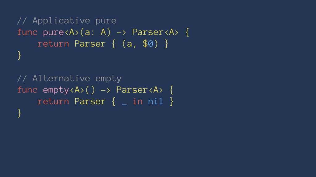 // Applicative pure func pure<A>(a: A) -> Parse...