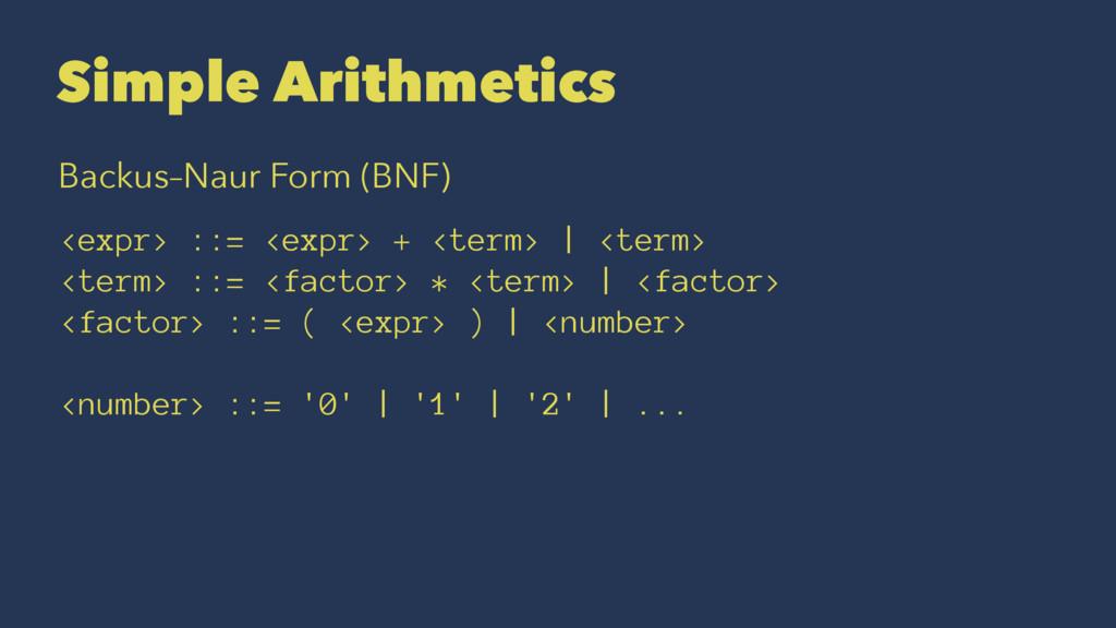Simple Arithmetics Backus–Naur Form (BNF) <expr...