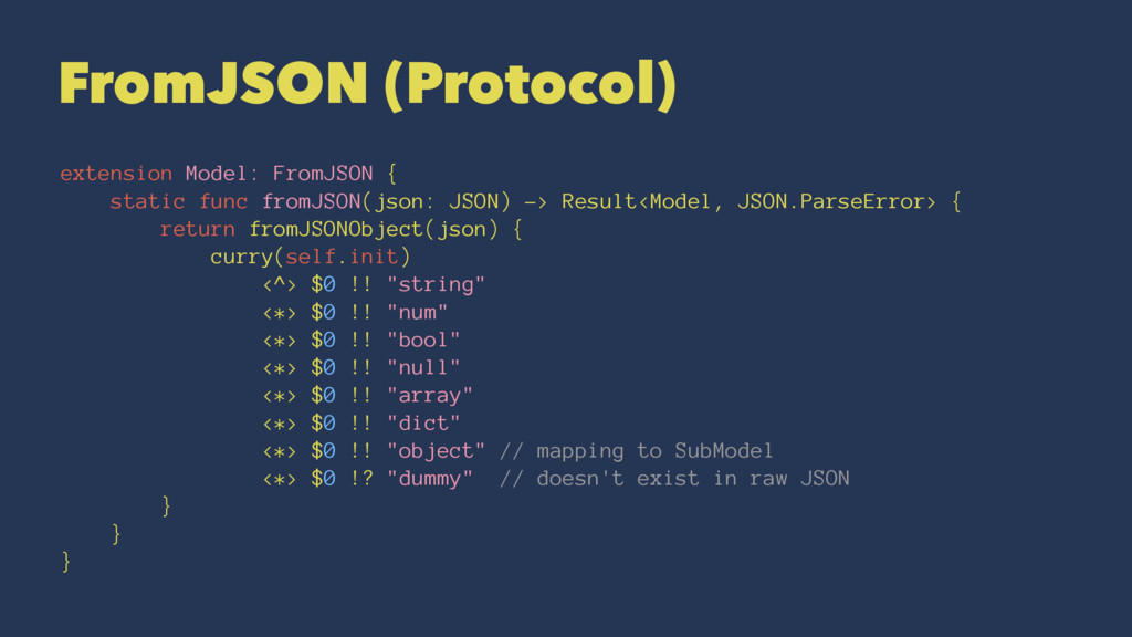 FromJSON (Protocol) extension Model: FromJSON {...