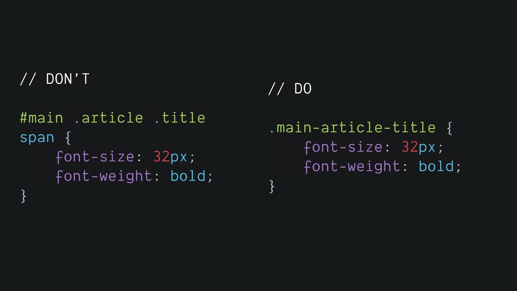 // DON'T #main .article .title span { font-size...