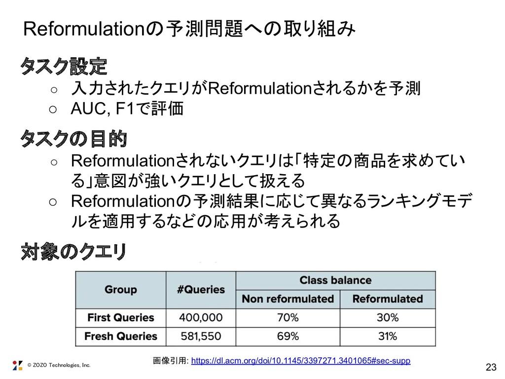 © ZOZO Technologies, Inc. 23 Reformulationの予測問題...