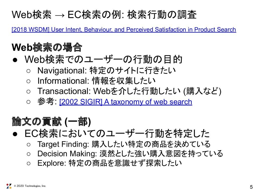 © ZOZO Technologies, Inc. 5 Web検索 → EC検索の例: 検索行...