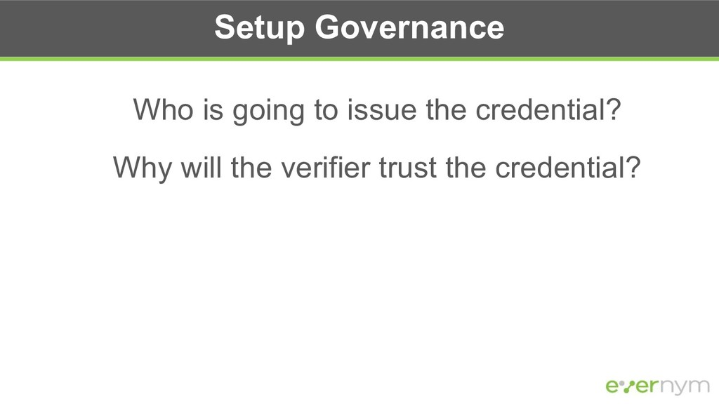 Setup Governance Who is going to issue the cred...