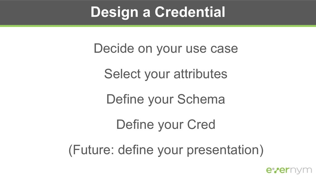 Design a Credential Decide on your use case Sel...