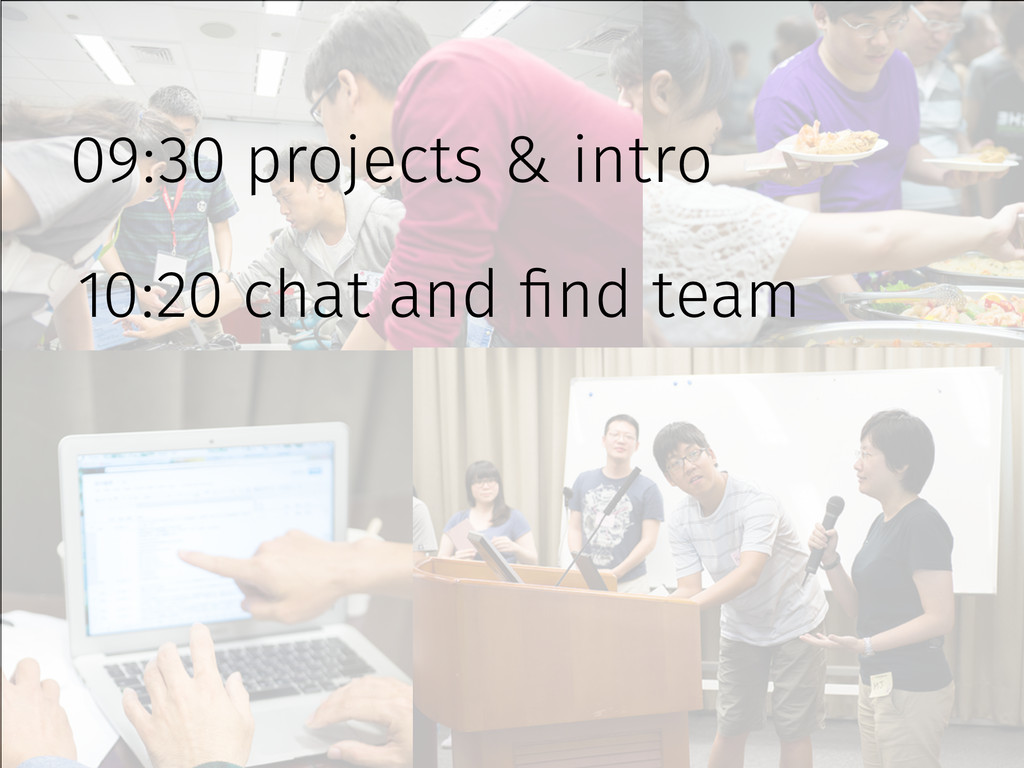 09:30 projects & intro 10:20 chat and find team