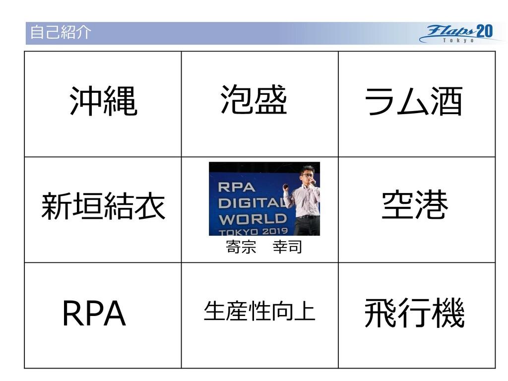 自己紹介 寄宗 幸司 沖縄 泡盛 ラム酒 空港 飛行機 生産性向上 RPA 新垣結衣