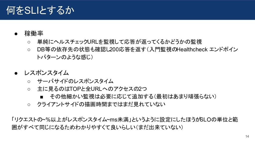 何をSLIとするか 14 ● 稼働率 ○ 単純にヘルスチェックURLを監視して応答が返ってくる...