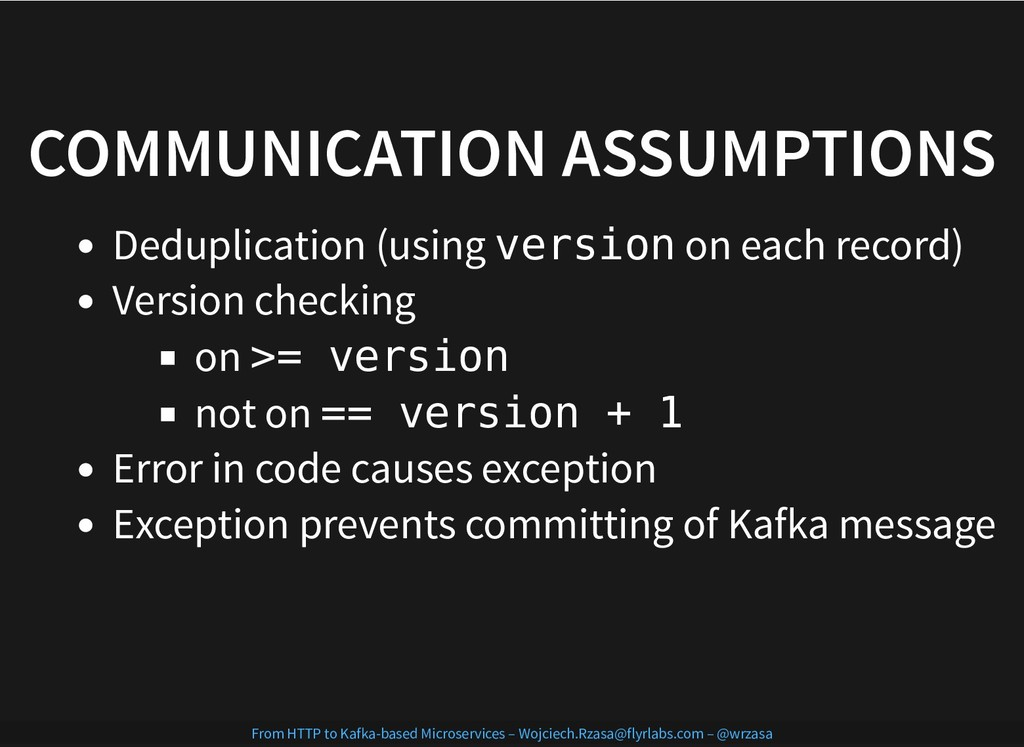 COMMUNICATION ASSUMPTIONS COMMUNICATION ASSUMPT...
