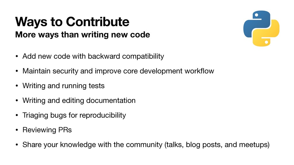 Ways to Contribute More ways than writing new c...