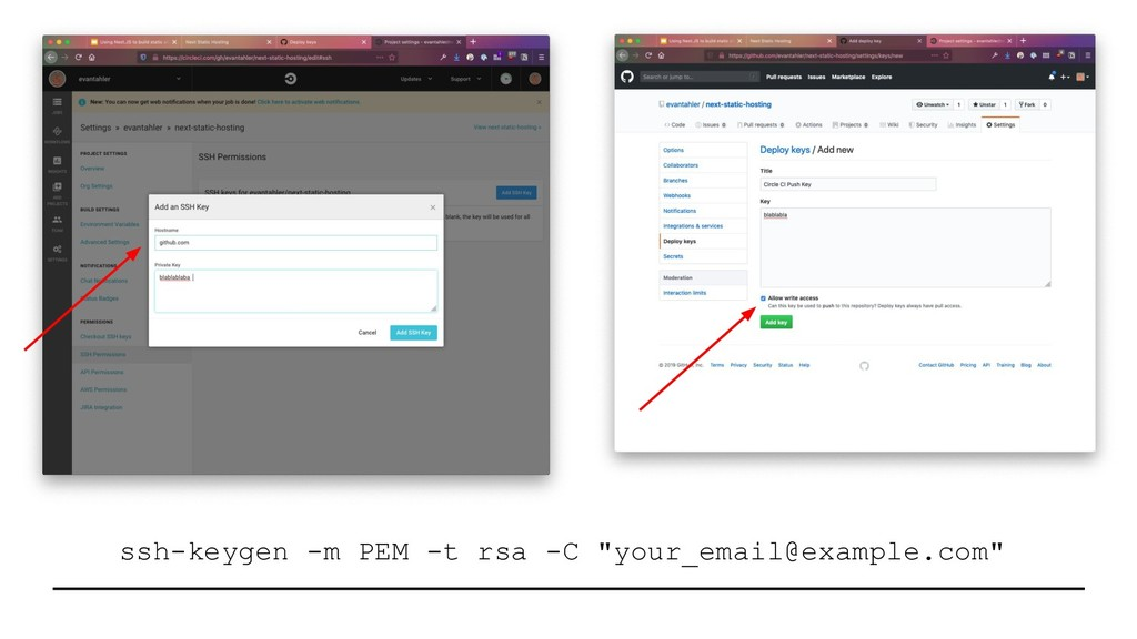 "ssh-keygen -m PEM -t rsa -C ""your_email@example..."