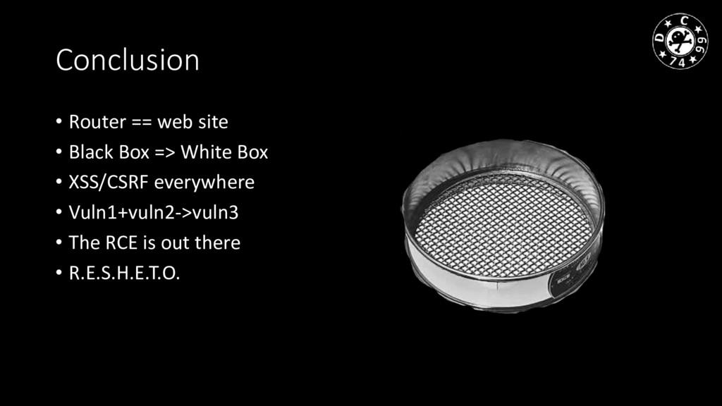 Conclusion • Router == web site • Black Box => ...