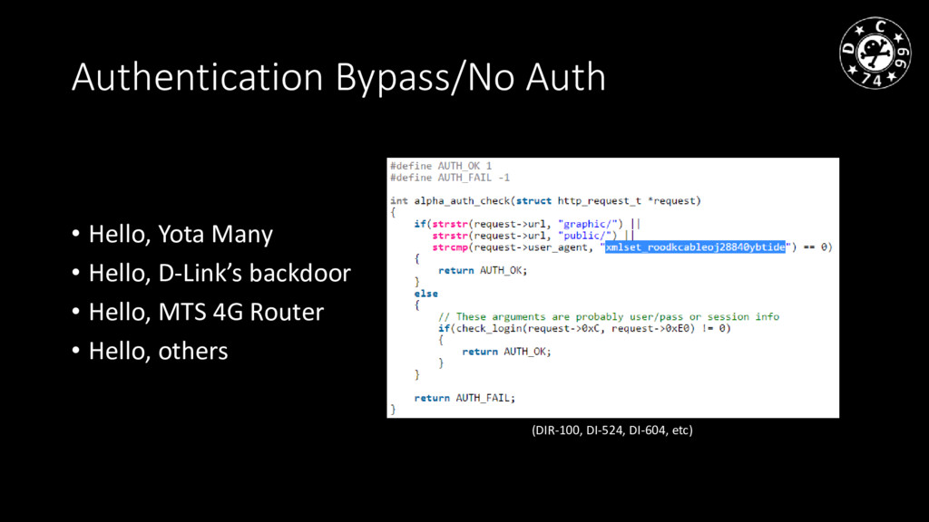 Authentication Bypass/No Auth • Hello, Yota Man...