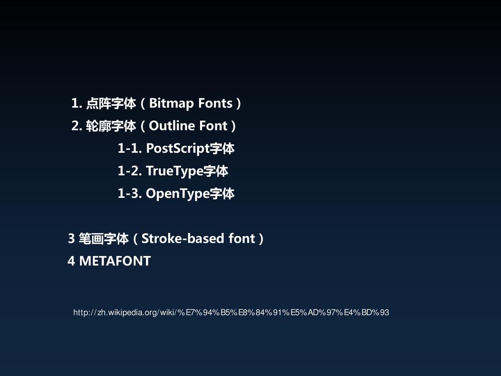 1. 点阵字体(Bitmap Fonts) 2. 轮廓字体(Outline Font) 1-1...
