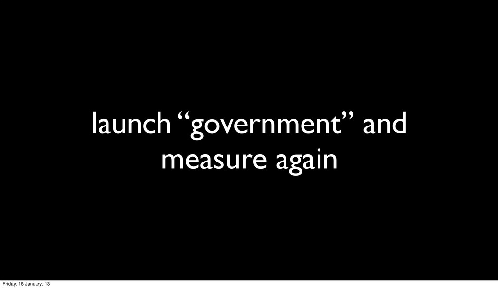 """launch """"government"""" and measure again Friday, 1..."""