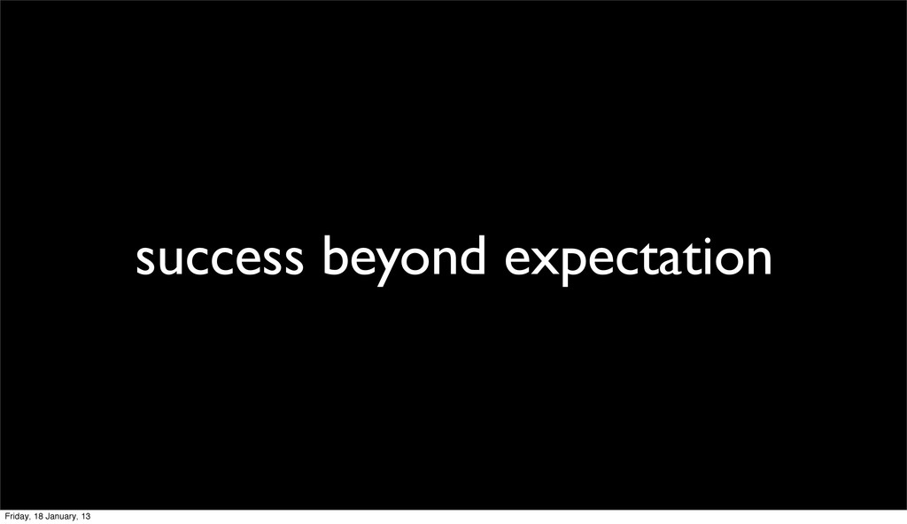 success beyond expectation Friday, 18 January, ...