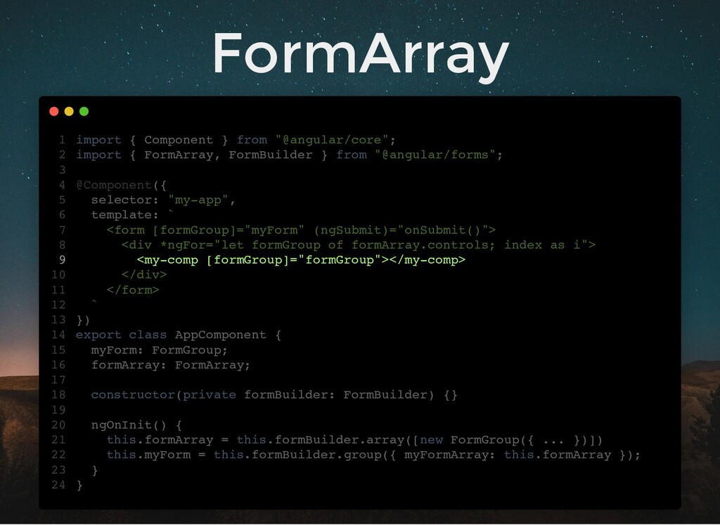 """FormArray import { Component } from """"@angular/c..."""