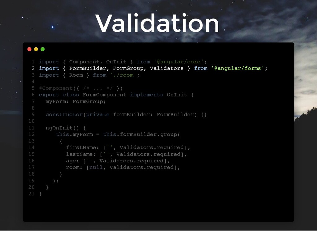 Validation import { Component, OnInit } from '@...