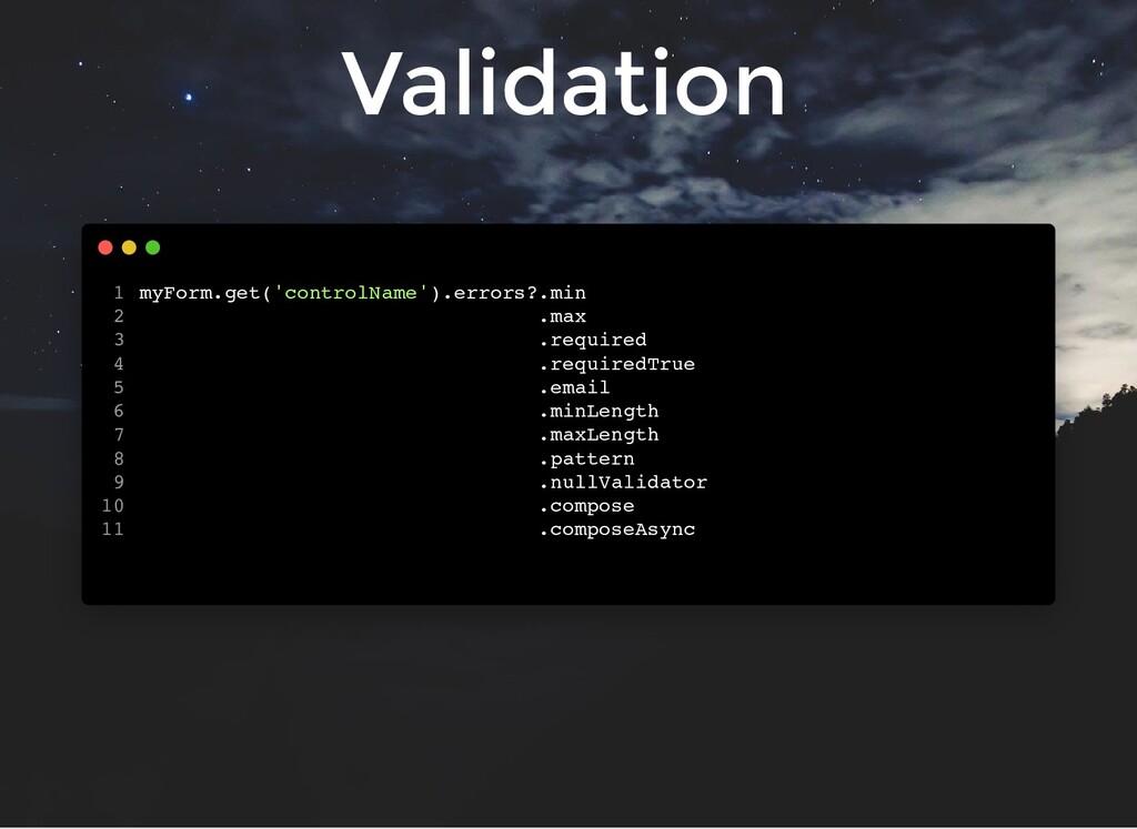 Validation myForm.get('controlName').errors?.mi...