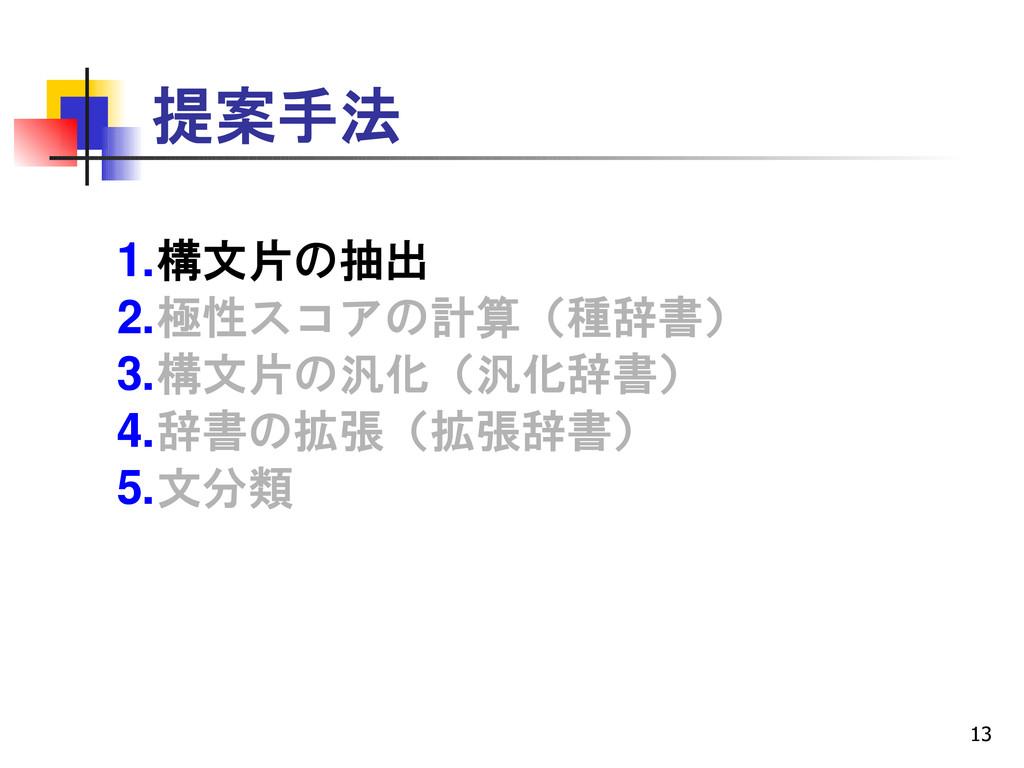 13 提案手法 1.構文片の抽出 2.極性スコアの計算(種辞書) 3.構文片の汎化(汎化辞書)...