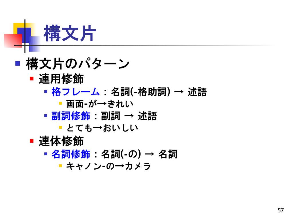 57 構文片  構文片のパターン  連用修飾  格フレーム : 名詞(-格助詞) → 述...