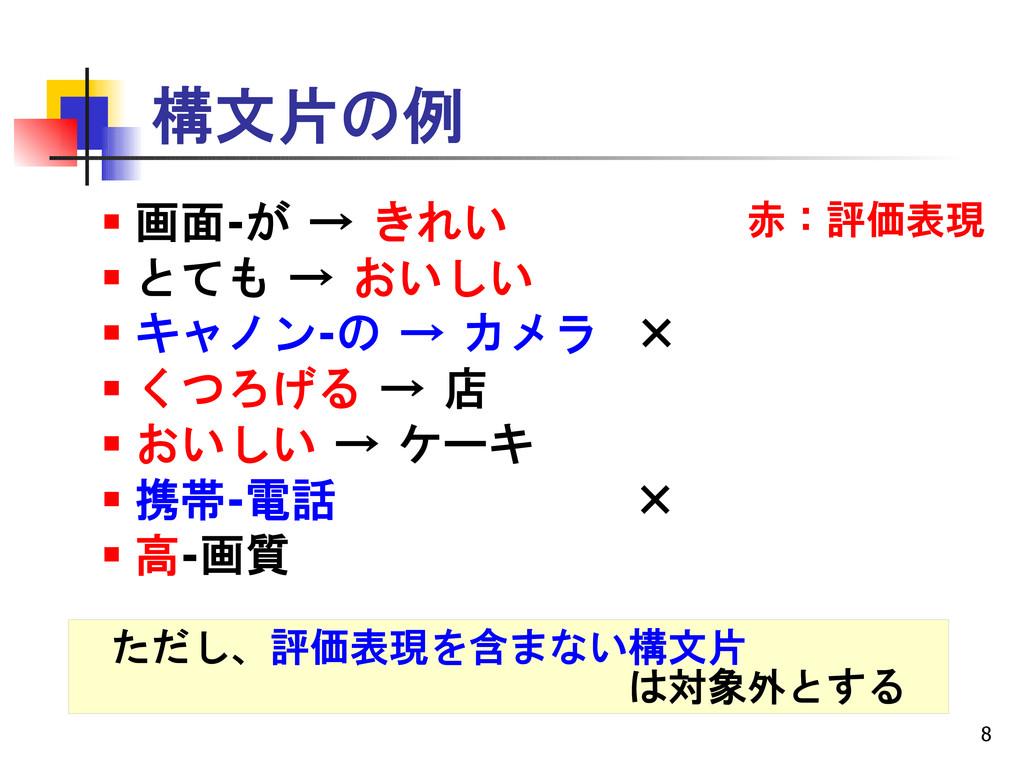 8 構文片の例  画面-が → きれい  とても → おいしい  キャノン-の → カメ...
