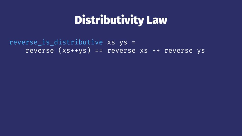 Distributivity Law reverse_is_distributive xs y...