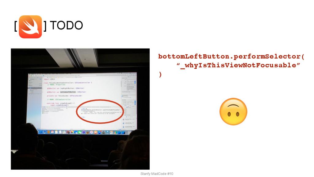 """[ ] TODO bottomLeftButton.performSelector( """"_wh..."""