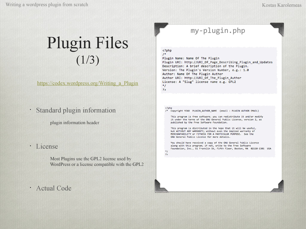 Plugin Files (1/3) https://codex.wordpress.org/...