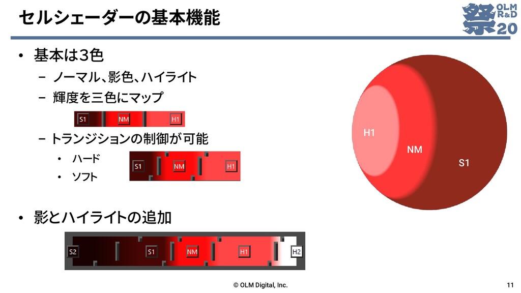 セルシェーダーの基本機能 • 基本は3色 – ノーマル、影色、ハイライト – 輝度を三色にマッ...