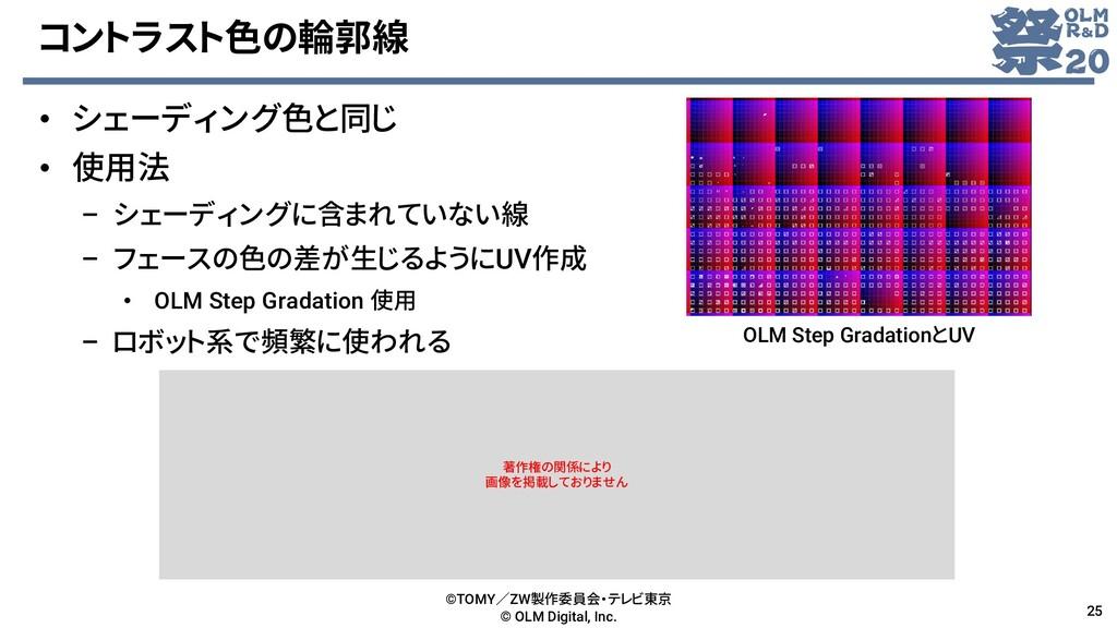 コントラスト色の輪郭線 • シェーディング色と同じ • 使用法 – シェーディングに含まれてい...