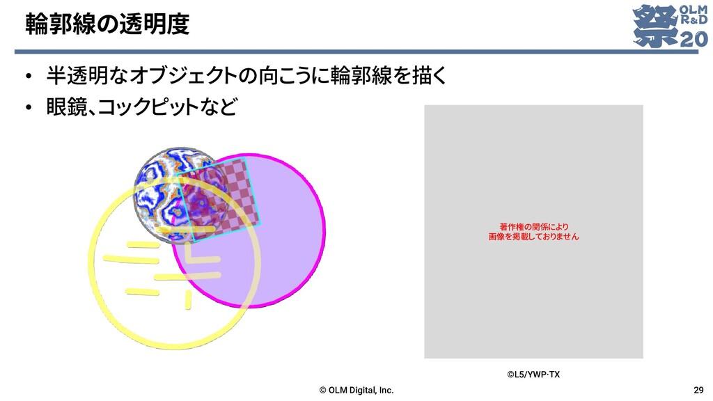 輪郭線の透明度 • 半透明なオブジェクトの向こうに輪郭線を描く • 眼鏡、コックピットなど ©...
